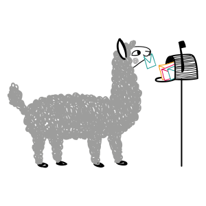 illustration with an alpaca and a mailbox